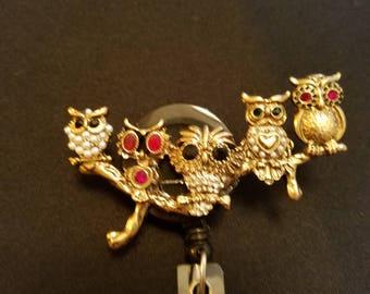 Owls On a Branch Badge Holder