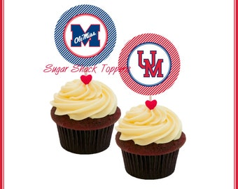 University of Mississippi Ole Miss * 12 Cupcake Toppers