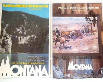 Two Official Montana Highway Maps from 1979 and 1982