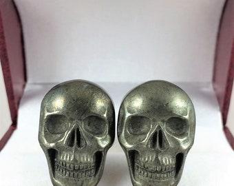 Skull Cufflinks, Stone Cufflinks, Pyrite,   Suit Accessory, Dress Shirt Accessory, Metallic Cuff Links, Funky Cufflinks