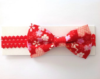 Japanese Fabric Bow Headband for Baby/Toddler, Sakura, Red