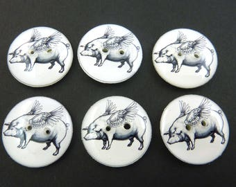 Flying Pig Buttons.   When Pigs Fly Buttons.  Choose Your Size.