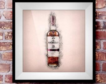 Macallan 25 - Crosshatch Whisky Wall Art