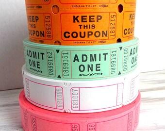 Blank Raffle Tickets / 20 Tickets / Pink Tickets / White Tickets / Journal Supply / Scrapbook Ephemera
