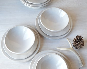 White Stoneware Dinnerware Set Dinnerware Set Pottery Organic Dinnerware Handmade Dish Set - & Pottery dinnerware | Etsy