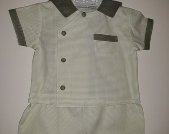 """Set shirt and pants 3/6 month green and white cotton """"Faun"""" handmade"""