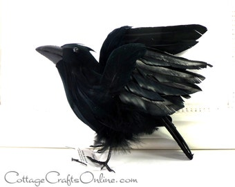 """Black Crow Feathered, Flying, 7.5"""" long, Halloween Embellishment, Darice Craft, Raven Decor, Wreath & Floral Supply"""