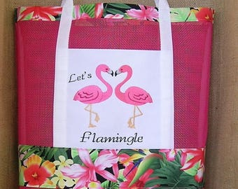 FlamingoTote Bag, Let's Flamingle, Vinyl Mesh Tote Bag, Summer Tote Bag, Tropican Tote Bag, Tote Bag