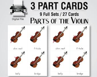 3 Part Cards | Nomenclature Cards | Violin Parts, Printable