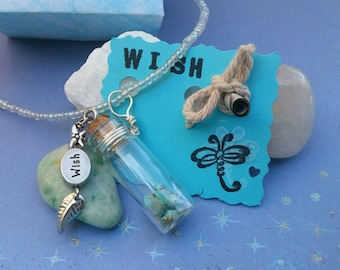Wish necklace, make a wish pendant, dandelion necklace, wish in a bottle, glass vial pendant, bottle necklace, personalized wish jewelry