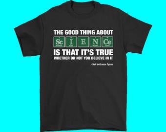 Neil dNeil deGrasse Tyson Believe Science Adult T-Shirt