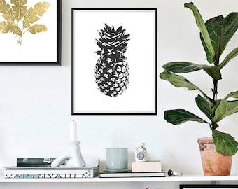 Pineapple Print, Black and white, Wall Art, Tropical, Gallery Wall Art #93