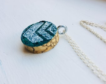 Silver Wine Cork Necklace (Dark Green)