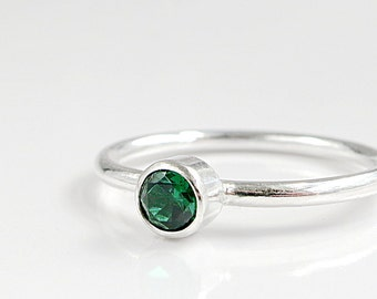 Emerald ring, Sterling Silver, Stacking, Birthstone jewelry