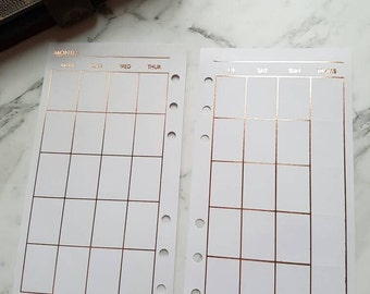 Personal (MM) Medium Rose Gold foil Monthly (MO2P) planner inserts paper | Planner refills for Kikki k, Filofax, Louis Vuitton MM agenda