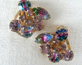 Vintage 1950s Earrings 50s Watermelon Rainbow Rhinestone Clip Earrings