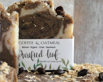 Coffee & Oatmeal, Breakfast Soap Bar, Organic Soap, handmade soap, soap bar, oatmeal soap, coffee soap, Fragrance Free, Essential Oil Free