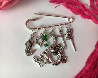 Peter Pan themed brooch ~ Off to Neverland! ~ Quirky kilt pin ~ Unique jewellery / jewelry ~ Silver plated ~ Tinkerbell, Captain Hook x