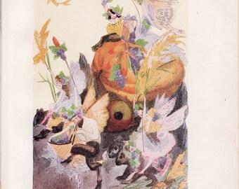 Antique Victorian Art Print-Book Plate-Lithograph-Fairies-Fall Harvest Ride-Artist Penny Ross-1914