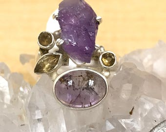 Amethyst and Citrine Ring, Size 7