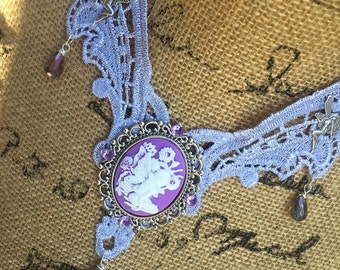 Necklace Lavender Lace Choker Steampunk Fantasy Victorian Fairy Cameo