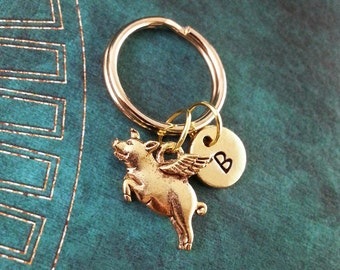 Flying Pig Keychain, Animal Key Ring Initial Keyring, When Pigs Fly, Engraved Keychain, Pig Charm Necklace, Gold Keychain, Swine Charm