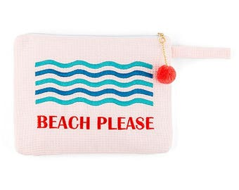 Retro Personalized Wet Bikini Bag, Embroidered Personalized Bridesmaid Gift, Personalized Waterproof Bathing Suit Bag