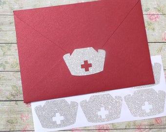 15 glitter Nurse hat stickers,  doctor party decoration, favors, nurse graduation envelope seal, medical birthday favor bag seal, hospital
