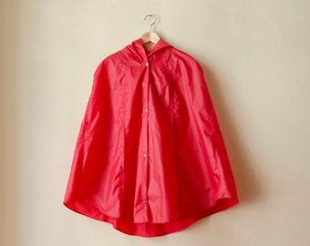 Red Riding Hood Raincape, Vintage Inspired Cape with Hood, Waterproof, Unisex Rain Jacket
