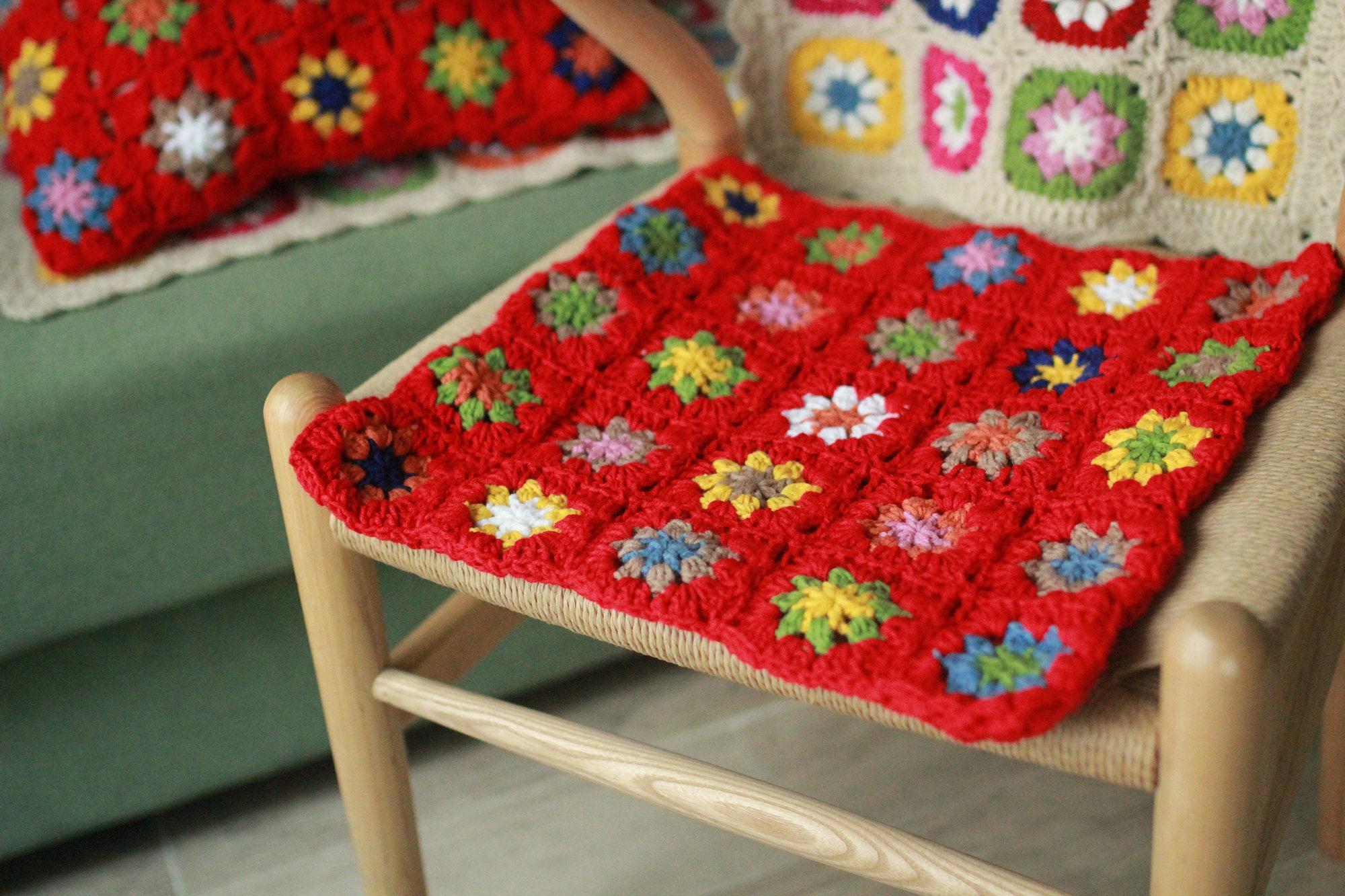 Granny Square Crochet Cushions100%HandmadeRed