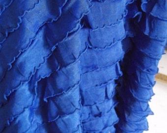 """1"""" Blue Ruffle Stretch Fabric BTY"""