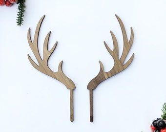 Antlers Cake Topper - Woodland Topper- Winter Topper - Acrylic or Wood-