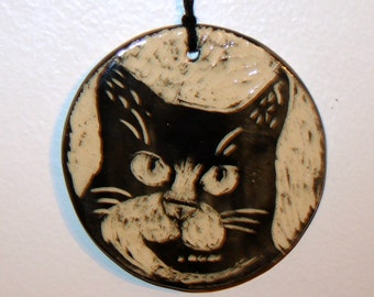 Tuxedo Cat Pottery Ornament Kitten Black and White Sgraffito Design Hanging Décor