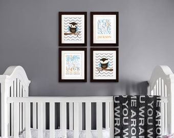Owl Print Set, Alphabet Print with Name, Chevron, Custom Name, Birthdate, Owl Nursery, Owl family, Nursery Print, Item 037