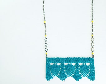 Palmer Square Crochet Necklace in Peacock Blue, Lace Pendant, Statement Necklace, Pineapple Crochet, Teal Blue, Layering Necklace, Teen Gift