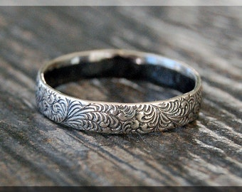 Floral Sterling Silver Ring, Sterling Silver Stacking Ring, Whimsy Floral Pattern Ring, Sterling Silver Wedding Ring, Sterling Silver Band