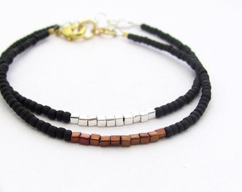 Friendship Bracelet, Black Friendship Bracelet, Copper Cubes, Silver Plated, Minimal Modern Bracelet, Miss Ceces Jewels, Zen Yoga Jewelry