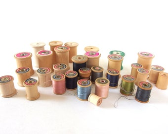 Wooden Thread Spools, 31 Collectible Wood Spools