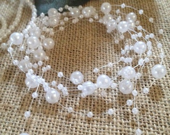 White Pearl Beaded Garland (8+3mm Pearls) Used for Creating The Floating Beaded Pearl Centerpiece