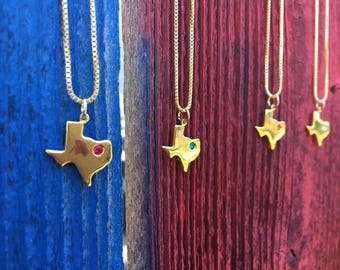 Gold texas necklace with cz, texas jewelry, gold texas necklace, texas shape necklace, college gift, graduation gift, Going Away Gift