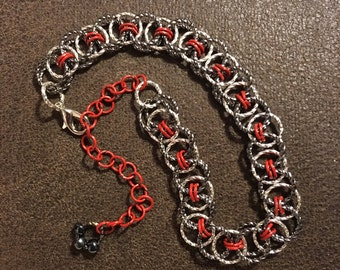 Chain Maille Bracelet , gunmetal and silver twist rings with red rings
