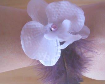 Violetta white Orchid wedding bracelet
