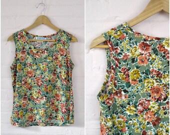 90s olive green floral tank · retro sleeveless summer top · boxy cut bohemian flower print shirt · medium