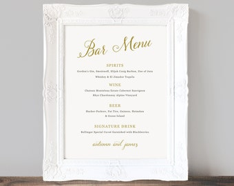 Printable Wedding Bar Menu Template, Wedding Bar Sign, Signature Drinks, Cocktails, Custom Printable Bar Menu - INSTANT DOWNLOAD