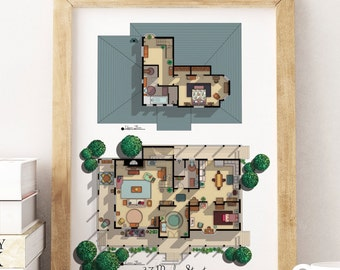 NEW- Gilmore Girls House Floor Plan- Lorelai and Rory's House Layout - Stars Hollow Poster- Gilmore Girls Poster- Gift for Gilmore Girls Fan