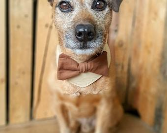 Dog wedding attire, Dog Wedding bandana, Dog costume, Dog bow tie, Dog Outfit, Dog bandana, Dog collar, Dog tuxedo, Brown Dog Collar