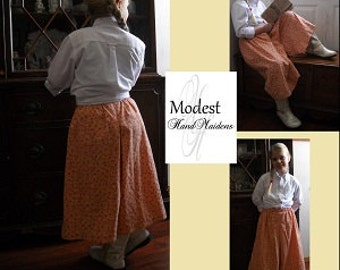 Girl's Box-Pleat, Split-Skirt (Riding Skirt)  **PDF Pattern**