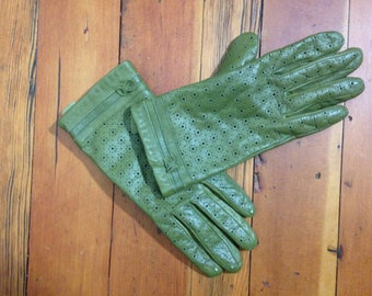 Green Leather Floral Cutout Gloves
