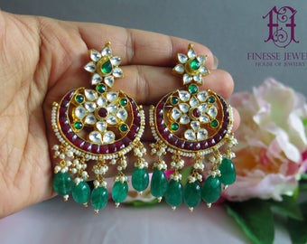 Red Green Kundan Earrings, Indian Earrings, Chandbali Earrings, Indian Jewelry, Kundan Jewelry