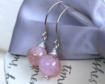 Morganite Stone earrings your choice of Pink or Blue